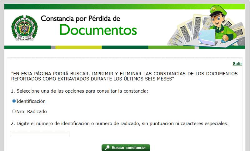 imprimir denuncia por pérdida de documentos