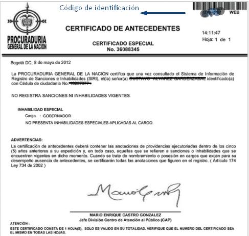 certificado especial procuraduría