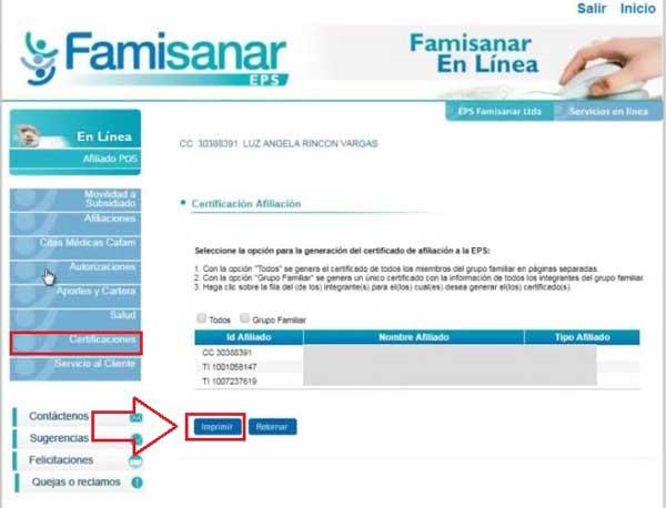 descargar certificado famisanar EPS