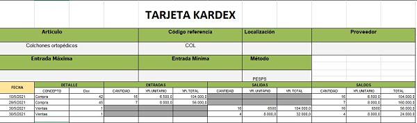 kardex ejemplos