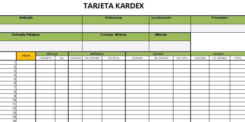 tarjeta kardex